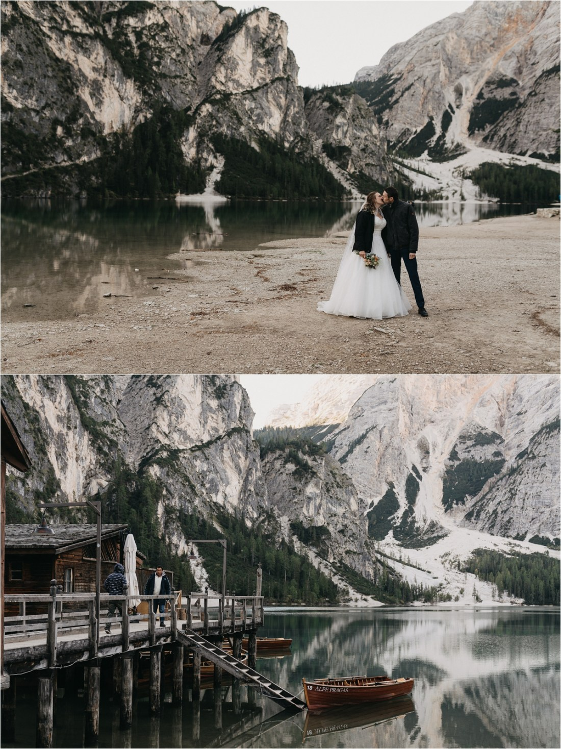 The bride wears a black jacket over her wedding dress at Pragser Wildsee in Italy. Photos by by Romany Flower