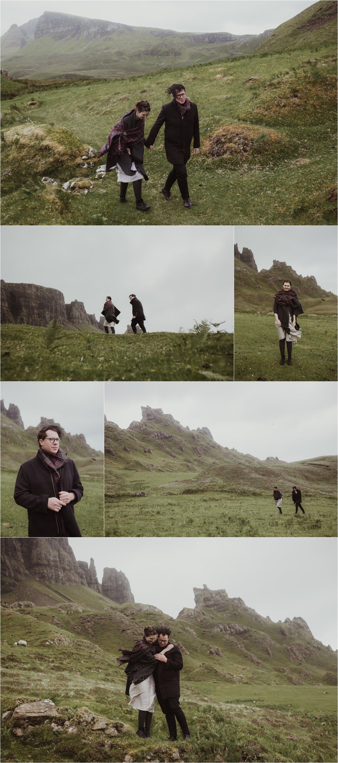 The newlyweds explore the windy Isle of Skye after their elopement ceremony. Photographed by Maureen du Preez