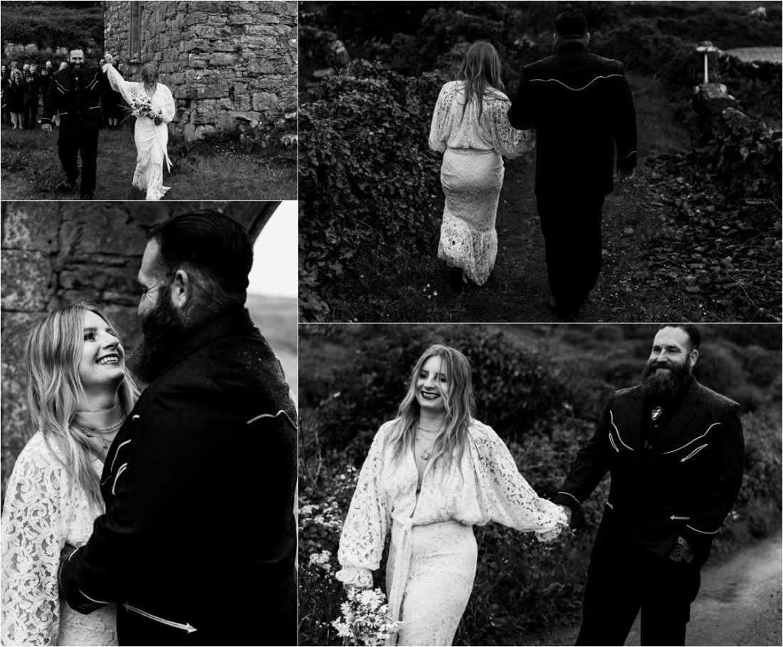 The bride and groom walk down a country lane on the Aran Islands after their celtic elopement ceremony. Photos by Emily Black Photography