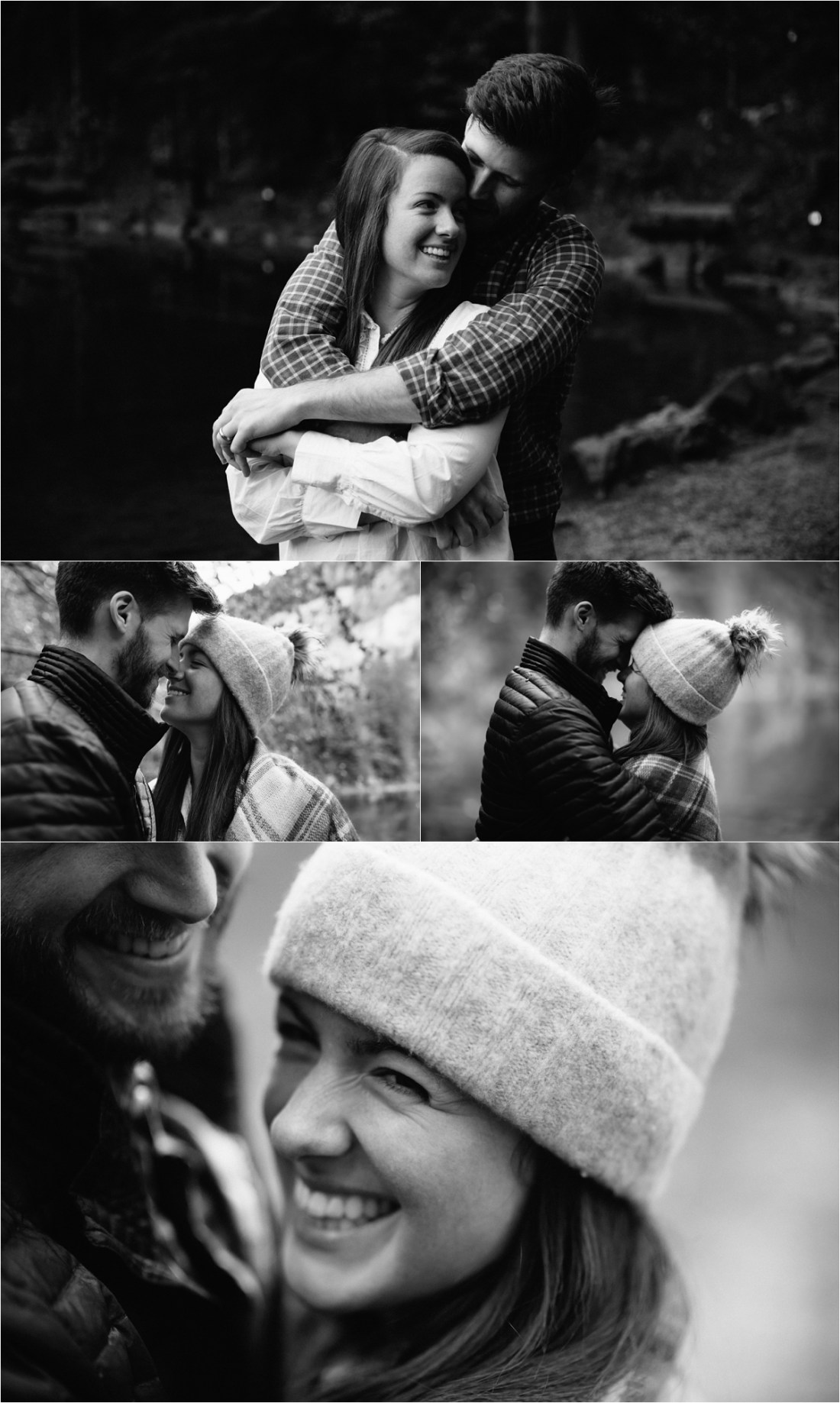 Black & White pictures of a couple hugging wearing winter hats by Caroline Hancox Photography