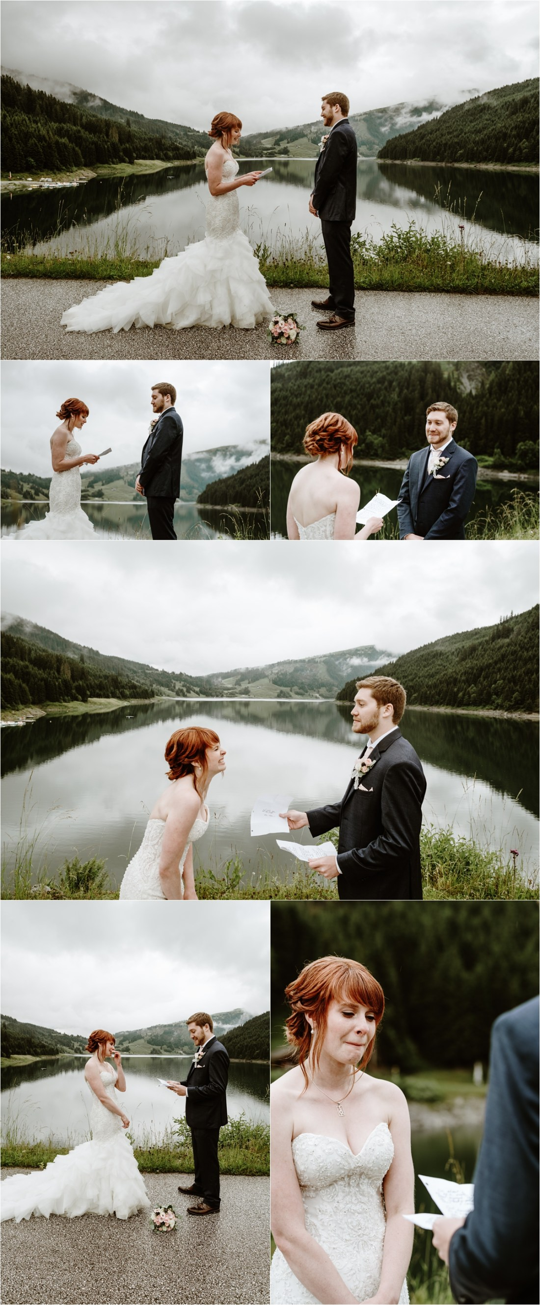 Emma & Adam privately read their wedding vows to one another in the Austrian Alps. Photos by Wild Connections Photography