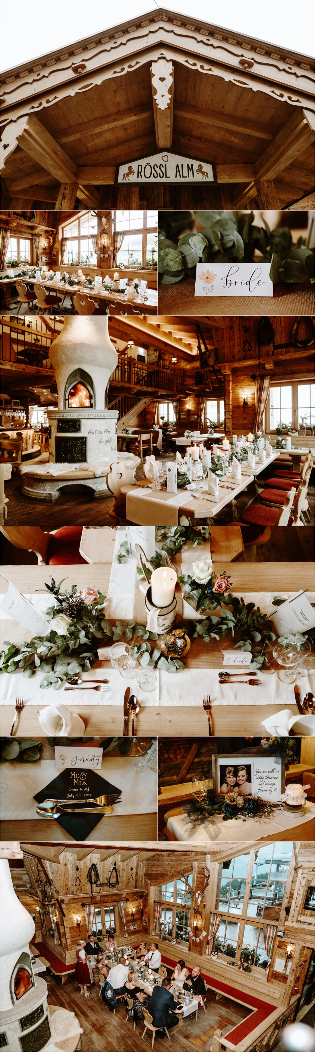 A mountain hut wedding reception in Austria. Photos by Wild Connections Photography