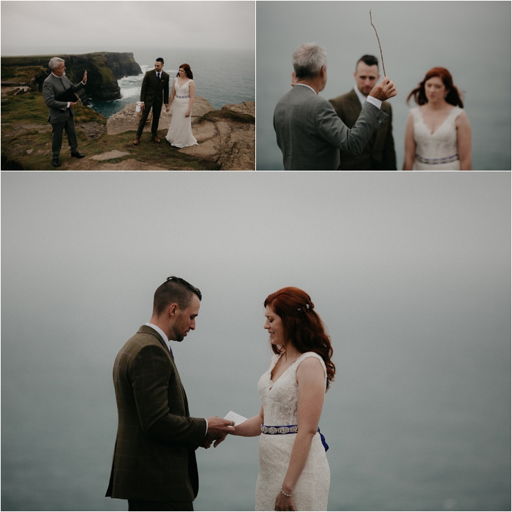 Cliff top Hand fasting of Jon and Sara, on the Cliffs of Moher, Co Clare, Ireland Captured by Photographers Seandkate the bride and groom exchange rings