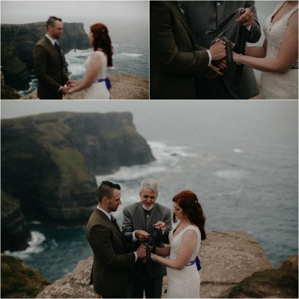 Cliff top Hand fasting of Jon and Sara, on the Cliffs of Moher, Co Clare, Ireland Captured by Photographers Seandkate Jon & Sara's hands are fastened