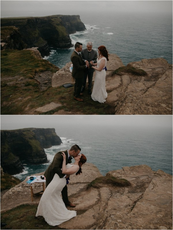 Cliff top Hand fasting of Jon and Sara, on the Cliffs of Moher, Co Clare, Ireland Captured by Photographers Seandkate Jon dips Sara for their first kiss