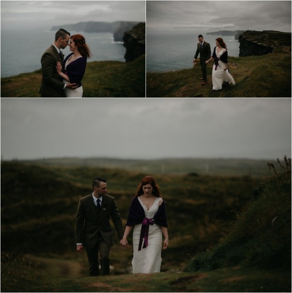 Cliff top Hand fasting of Jon and Sara, on the Cliffs of Moher, Co Clare, Ireland Captured by Photographers Seandkate Jon & Sara walk back across the meadows with the wind blowing their hair