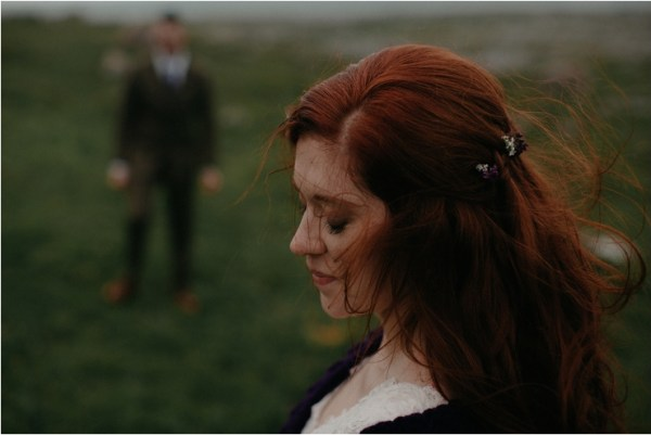 Cliff top Hand fasting of Jon and Sara, on the Cliffs of Moher, Co Clare, Ireland Captured by Photographers Seandkate Sara's beautiful red hear is blown across her face by the wind