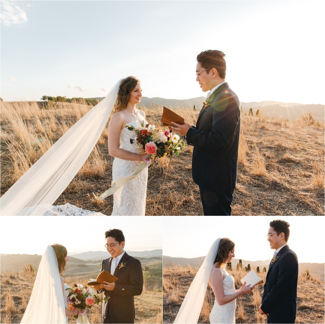 A Tuscany elopement ceremony at sunset. Photo by Roy Son Photo