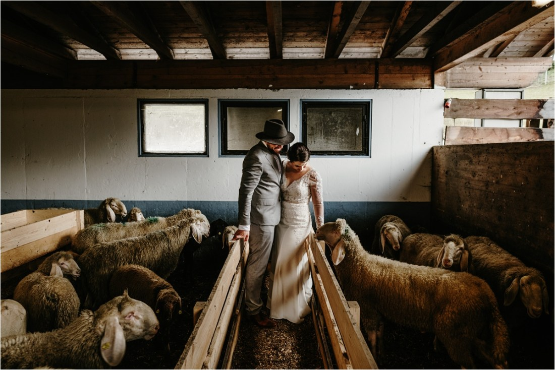 An elopement in Innsbruck on a sheep farm by Wild Connections photography