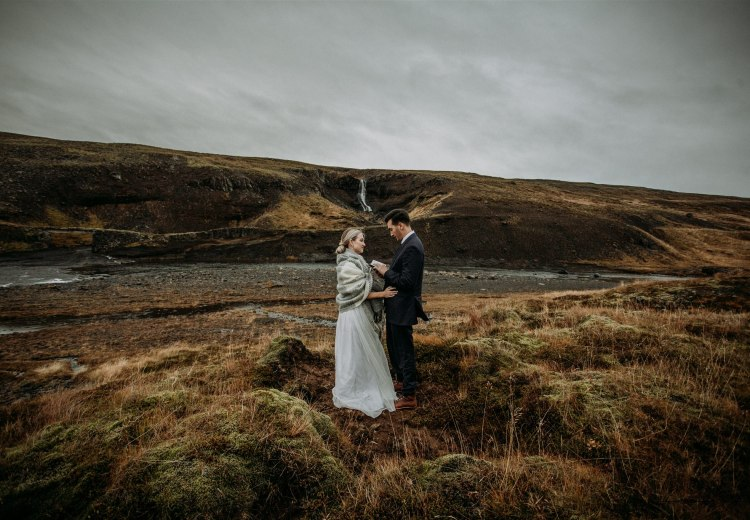 Iceland elopement by a private waterfall