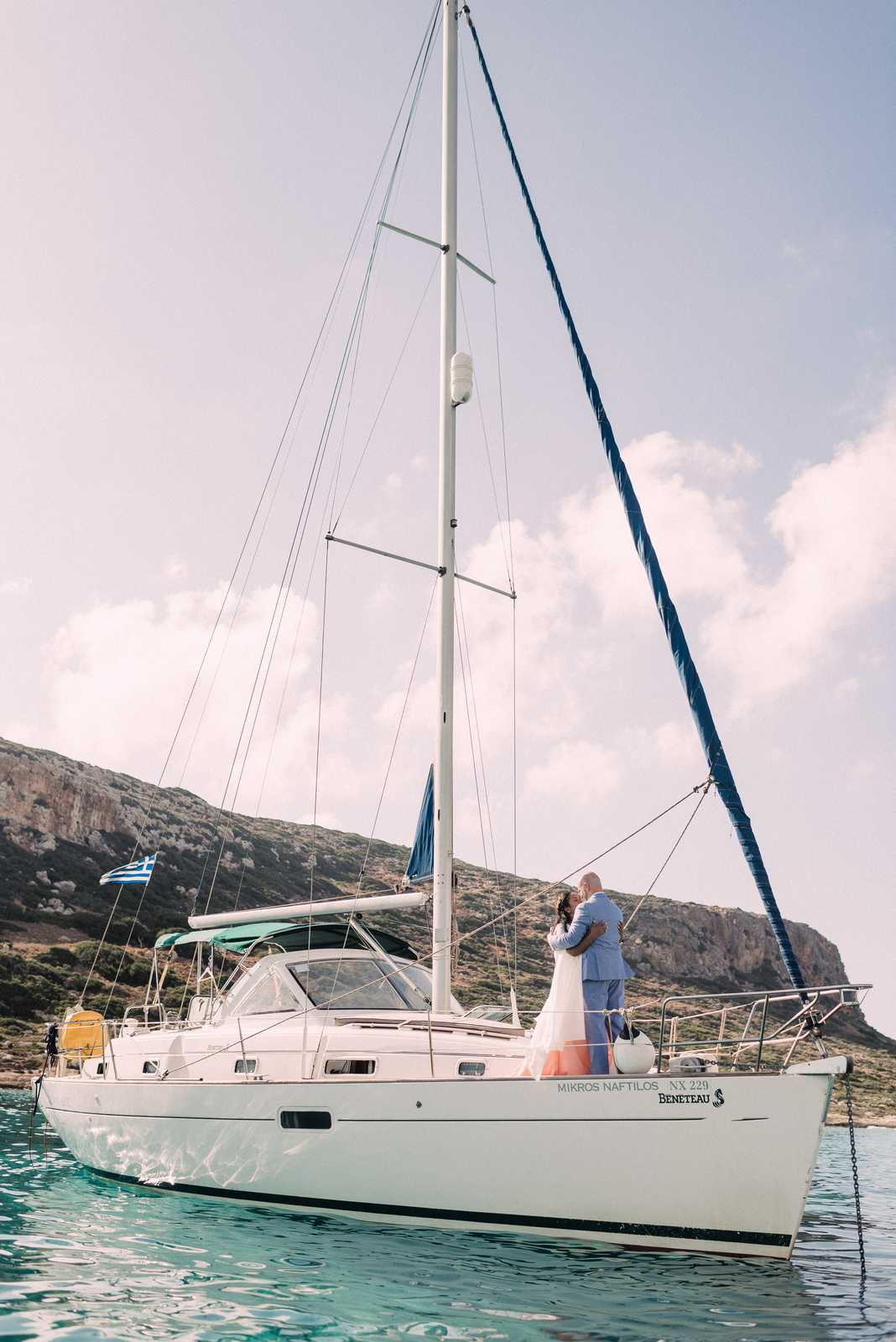 Bride and groom on a yacht in Crete