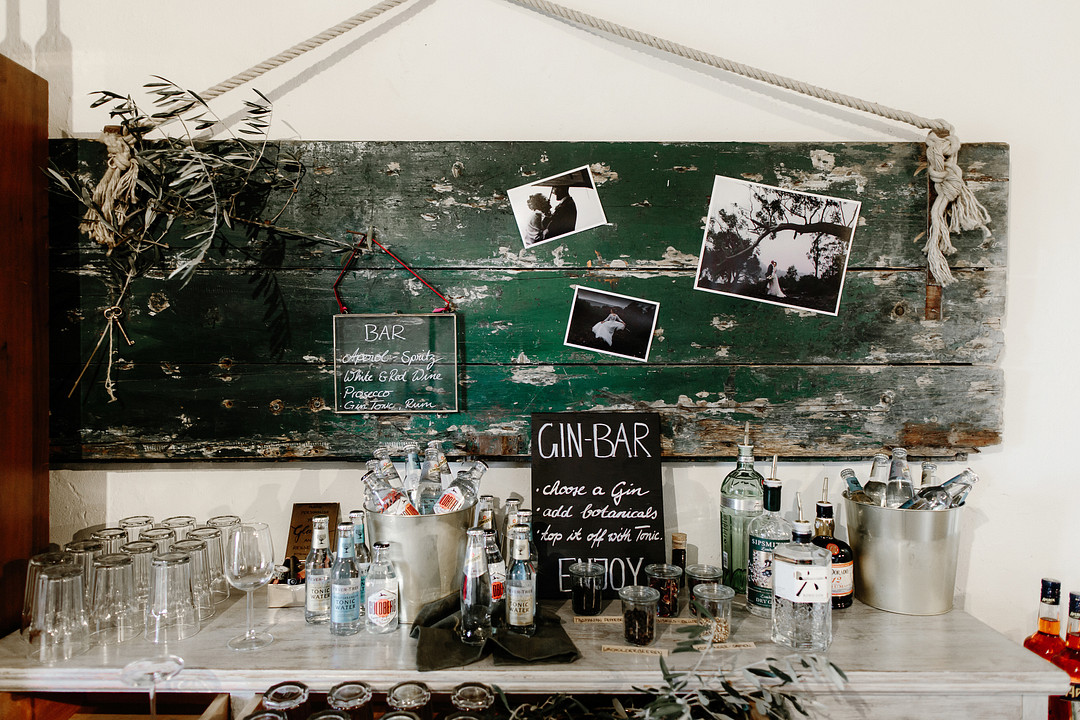 Rustin gin bar for a wedding in Tuscany