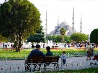 Istanbul park blauwe moskee