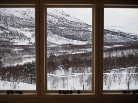 Uitzicht vanuit wolf lodge polar park