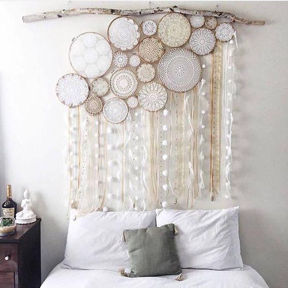 Crochet hoop curtain