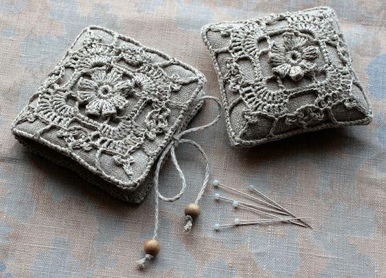 Grey Crochet Pin cushion