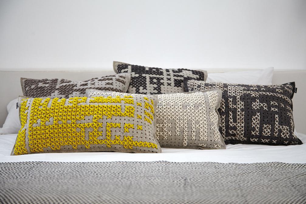 Gan rugs-canevas collection grey pillows