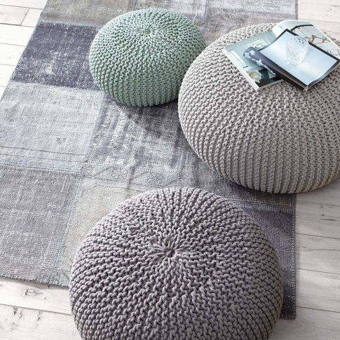 chunky grey poufs interior