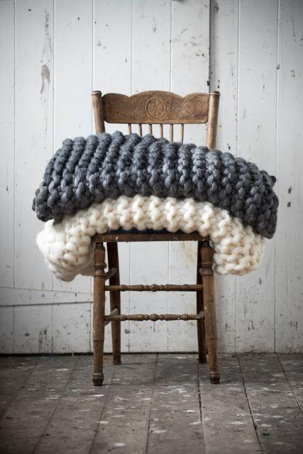 greys and wood chunky blankets