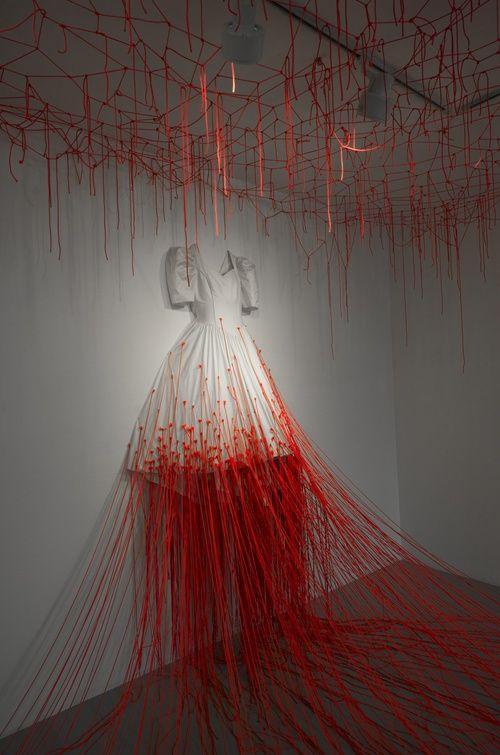 Chiharu Shiota dress red threads