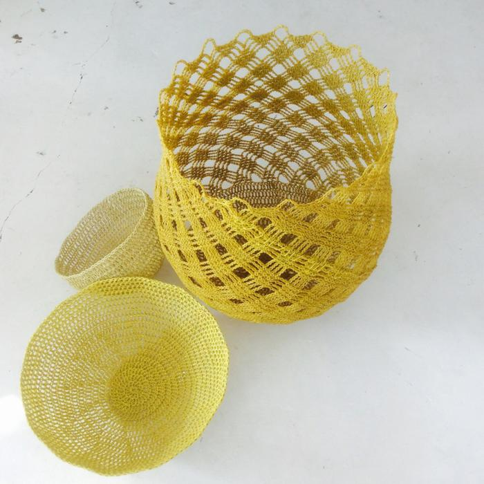 Moon basket design chunky bowls yellow