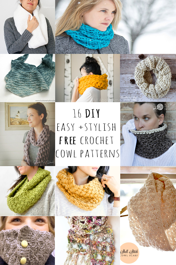 16 DIY easy + stylish free crochet cowl patterns