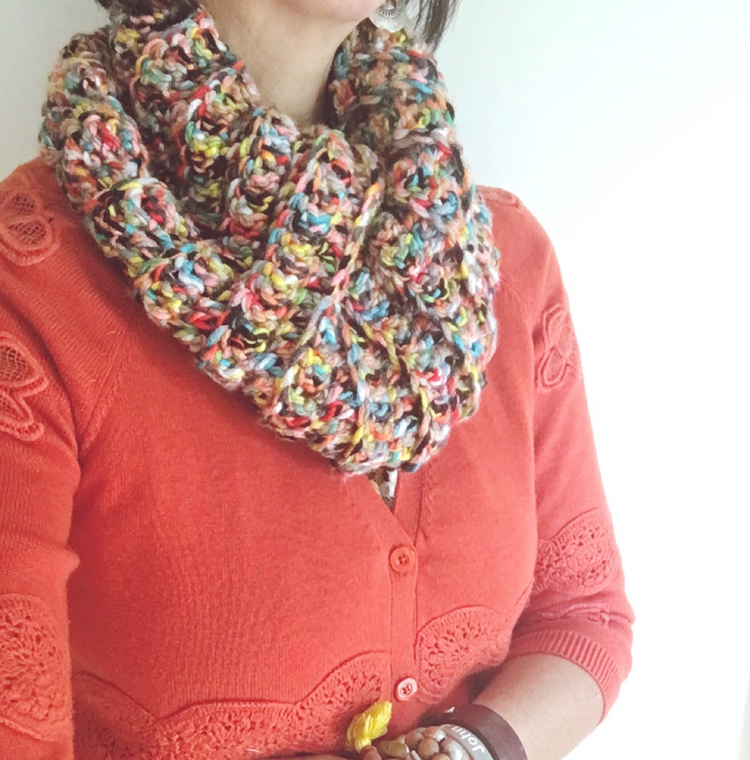 sugarbeans colorful crochet cowl