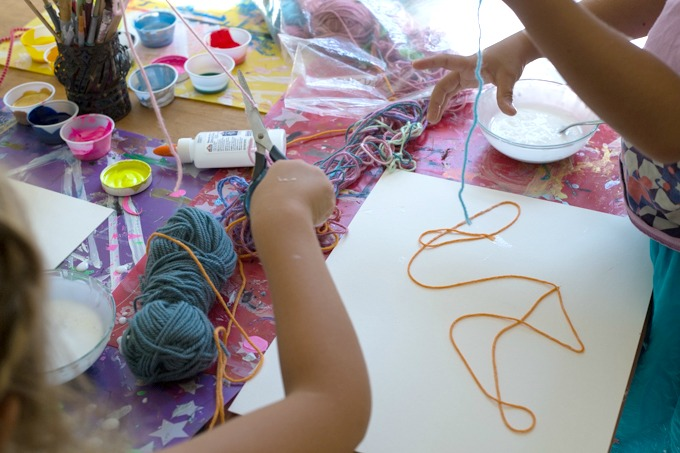 yarn painting with kids