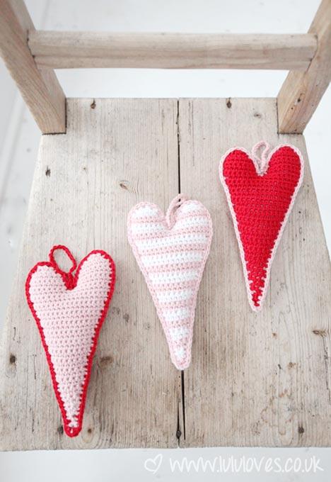 Valentine's Yarn crochet skinny hearts
