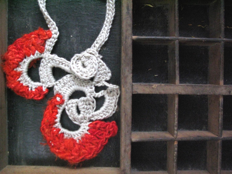 Valentine's (t)reds silk and cotton yarn necklace