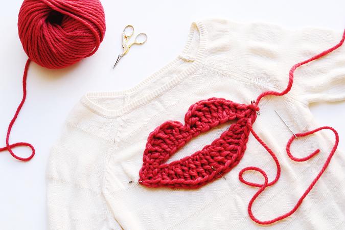 Valentine's Yarn crochet lip sweater