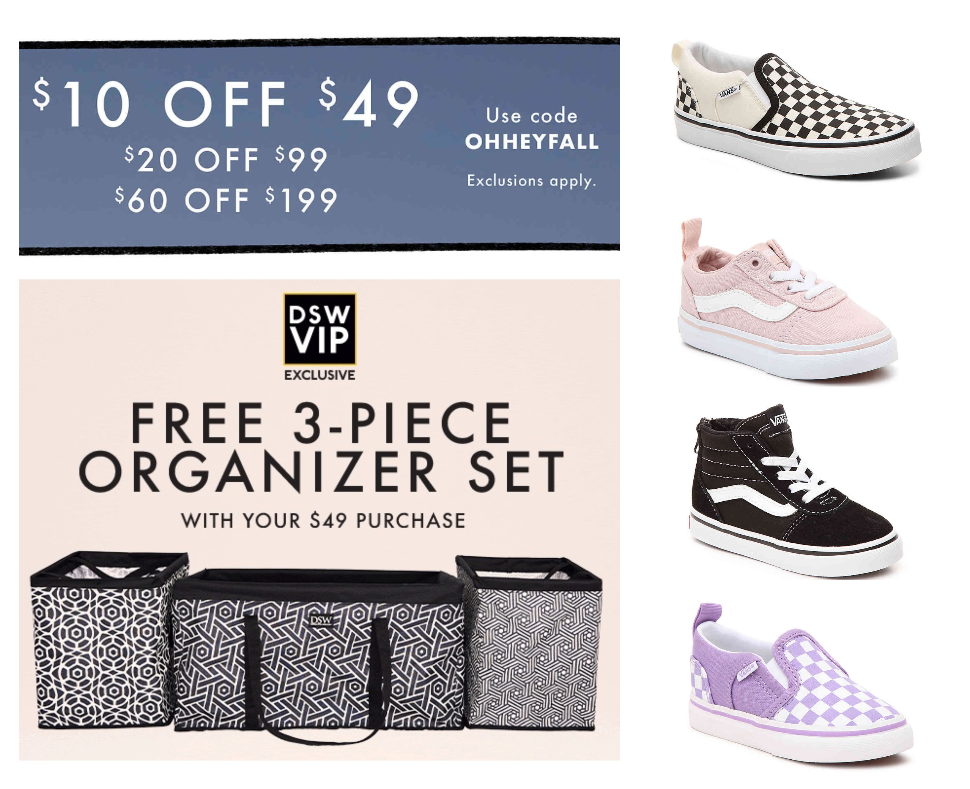 DSW: Save $10 off $49, $20 off $99, or $60 off $199 + Free