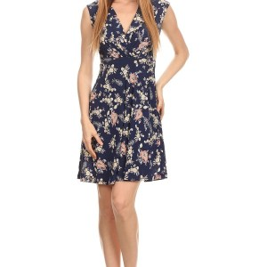 Nursing Dress Blue Flowers Front