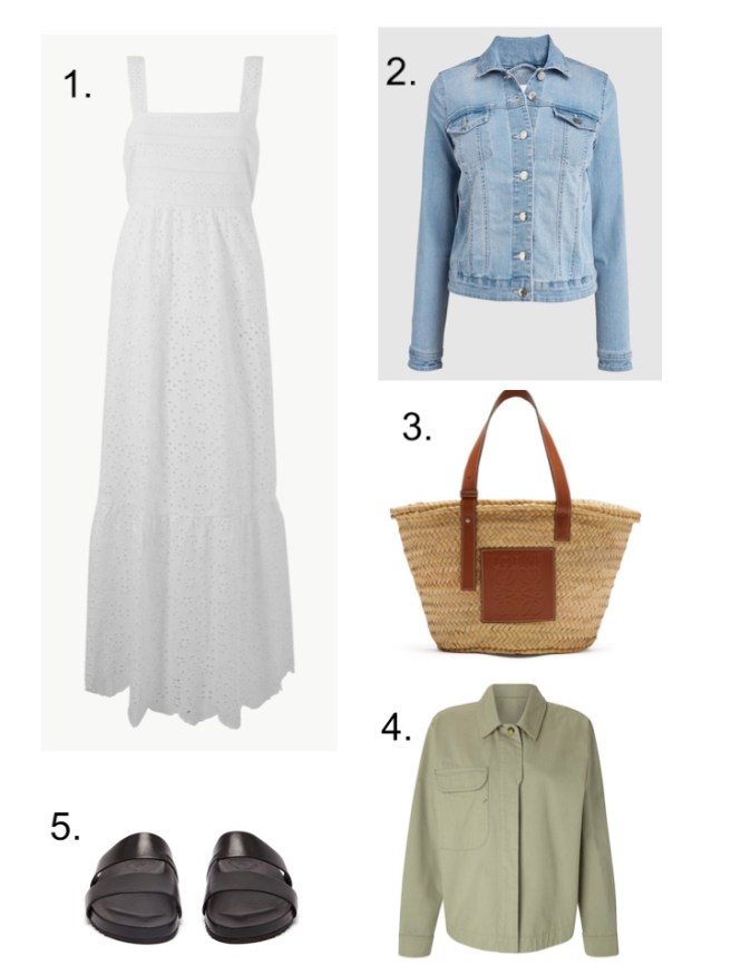 m&S White dress and Denim jacket