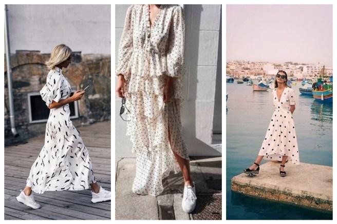 White summer polka dot dress