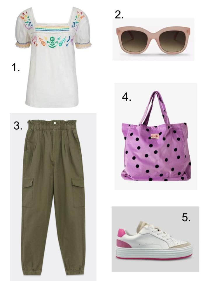 khaki trousers, summer trainers