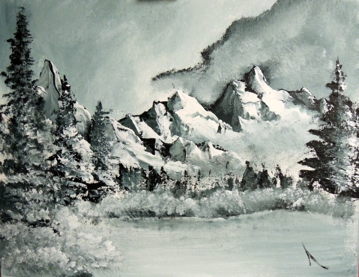 "Winter Mountains Study of Bob Ross 9"" x 12"""