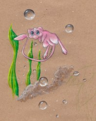 "Mew Bubbles 8"" x 10""; Colored PencilOct, 2014"