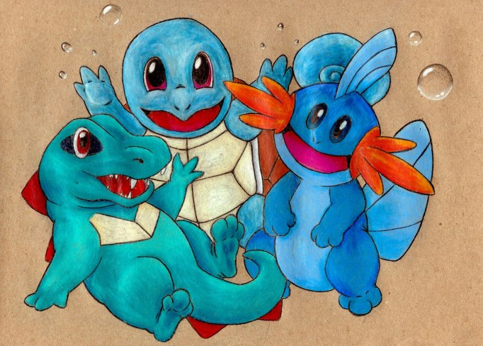 "Squirtle and Friends 9"" x 12""; Colored PencilOct, 2014"