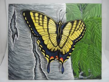 "Butterfly on Birch Acrylic on Canvas, 8"" x 10"""