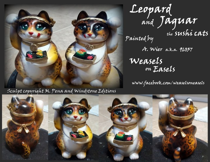 Leopard and Jaguar the Sushicats Sculpt Copyright Windstone Editions and M. Pena