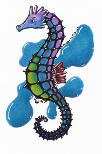 """Seahorse Sticker Copic Markers on Strathmore Watercolor Paper 3"""" x 4"""" Sticker"""