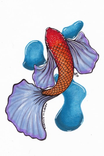 """Goldie-Koi Sticker Copic Markers on Strathmore Watercolor Paper 3"""" x 4"""" Sticker"""