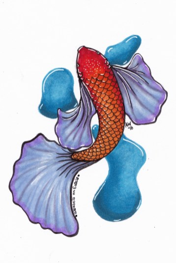 "Goldie-Koi Sticker Copic Markers on Strathmore Watercolor Paper 3"" x 4"" Sticker"