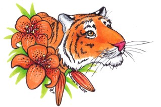 """Tiger and Lilies Sticker Copic Markers on Strathmore Watercolor Paper 3"""" x 4"""" Sticker"""