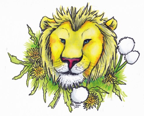 """Lion and Dandylions Sticker Copic Markers on Strathmore Watercolor Paper 3"""" x 4"""" Sticker"""