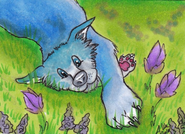 """Grassy Paws Copic Markers on Strathmore Watercolor Paper 2.5"""" x 3.5"""" ACEO"""