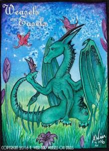 "Dragon and Fairies 5"" x7"" ; Watercolors May. 2016 Prints Available"