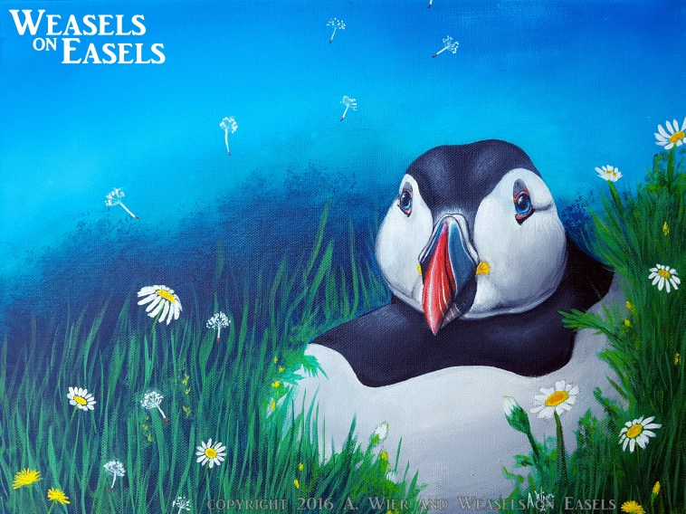 "Spring Puffin Acrylics on Canvas 12"" x 16"" ; June 2016 Prints Available"