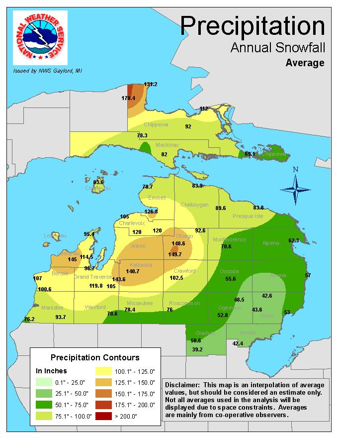 Average Annual Snowfall Graphic